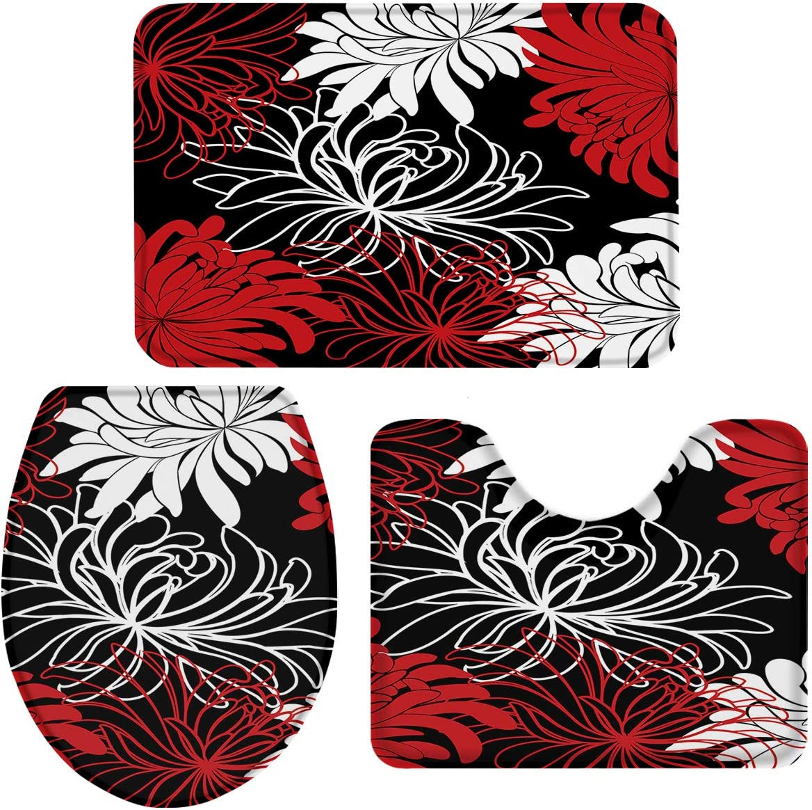 Bath Ranking TOP14 Rugs for Bathroom Set 3 Piece-Red Abstract Flor White Popularity Black
