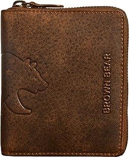 Brown Bear Geldbörse Reißverschluss Damen Herren Büffel Leder Braun Vintage Hochformat RFID Schutz viele Fächer hochwertig Echtleder BB Design Portemonnaie Geldbeutel Portmonee BB Billy br