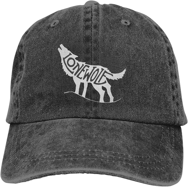 Denim Cap Howling Lone Wolf Baseball Dad Cap Classic Adjustable Casual Sports Novel for Men Women Hats