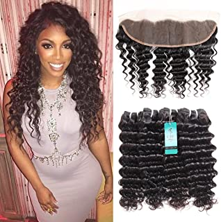 Deep Wave Bundles with Frontal, UDU 10A Human Hair with Frontal Deep Curly Remy Hair Extensions Brazilian Loose Deep Wave Bundles 50g/pc