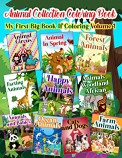 animal coloring book collection - my first big book if coloring - Volume 1: 100 Cute And Lovable Baby Animals From Africa ...