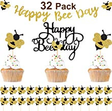 32 Pieces Bumblebee Party Decoration Happy Bee Day Gold Glitter Banner Happy Bee Day Cake Topper Bumble Bee Cupcake Toppers for Honey Bee Themed Birthday Party