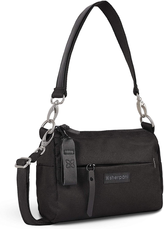 Sherpani Skye, Mini Crossbody Purse, Small Shoulder Bag, Fashion Handbag, Daily Purse, Casual Cross Body Bag, Nylon Crossbody Bags for Women, RFID Protection (Raven)