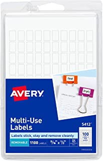 Avery Removable Rectangular Labels, 0.31 x 0.5 Inches, White, Pack of 1100 (5412)