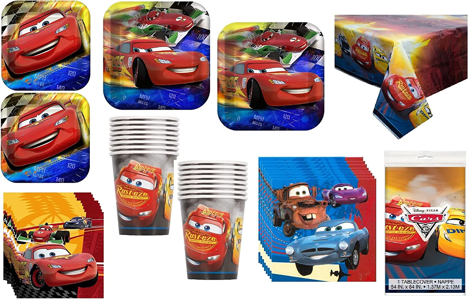 Disney Cars 2 Deluxe Party Supplies Plates Direct store Including Outstanding Cups Pack