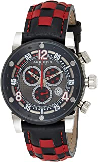 Akribos XXIV Men's Swiss Quartz Chronograph Watch - Black Embossed Dots Dial - Silver Stainless Case - Luminous Hands and Markers - Black and Red Genuine Leather Strap - AK612