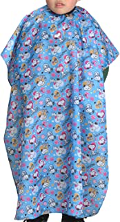 Colorfulife Child Hair Cutting Waterproof Cape Barber Kids Hair Styling Cloth with Snap Closure Professional Home Salon Hairdressing Wrap Cartoon Dog Pattern B018 (Blue Dog)