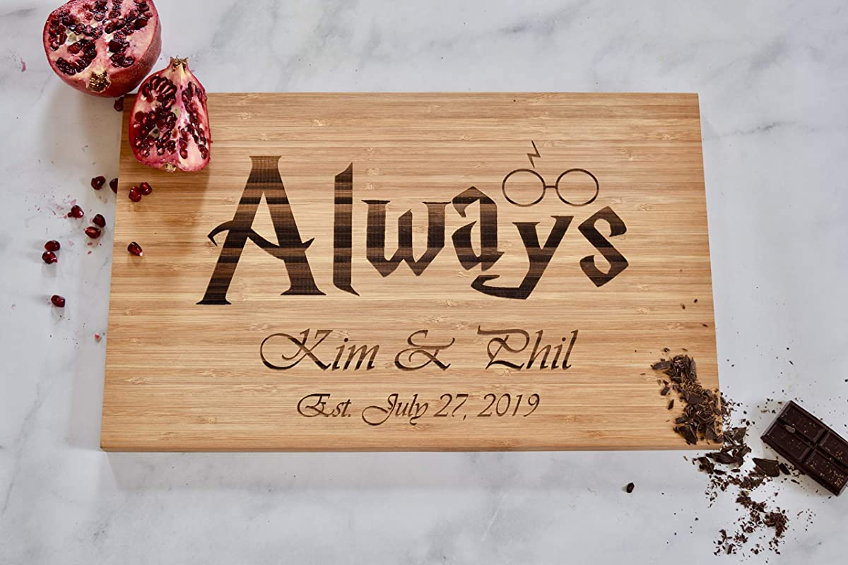 Custom Personalized Cutting Board HP Always Glasses Engraved Cutting Board Wedding Engagement Gift
