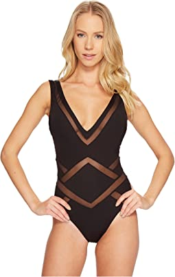 Kenneth Cole All Meshed Up Plunge Mio One-Piece