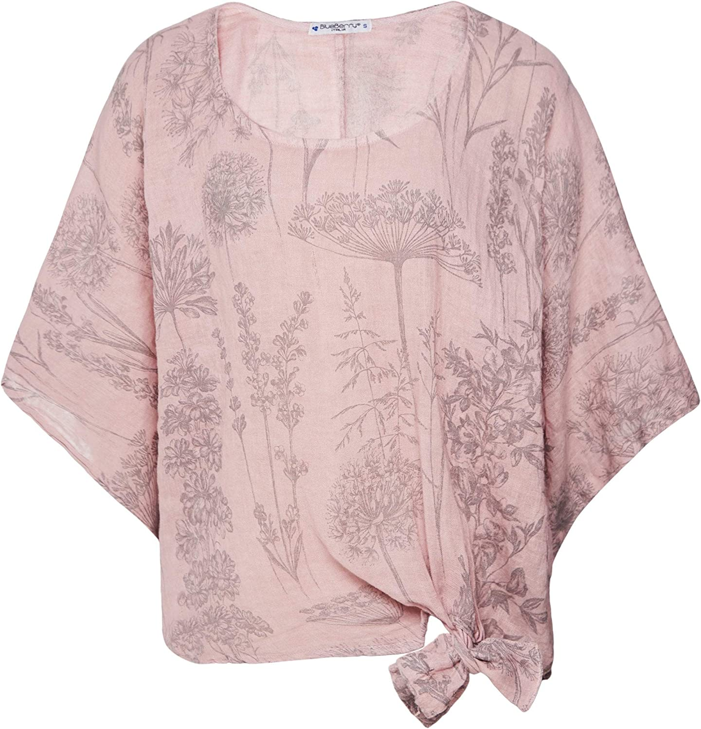 blueeberry Italia Women's Linen Wildflower Print Top Pink