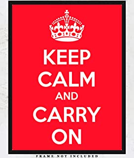 Keep Calm And Carry On Poster Art Print: Unique Room Decor for Boys, Girls, Men & Women - (11x14) Unframed Picture - Great Gift Idea