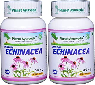 Indian Echinacea - 2 Bottles (Each 60 Capsules, 500mg) - Planet Ayurveda (in USA)
