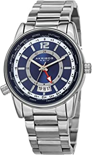 Akribos XXIV AK1021 Multifunction Men's Watch – Stainless Steel Link Bracelet – Global Time Bezel - 24 Hour - Sunburst Dial