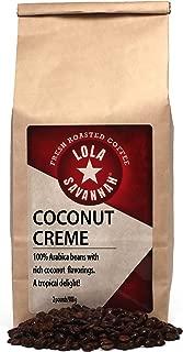 Lola Savannah Coconut Crème Whole Bean Coffee - Flavored Arabica Coffee with Real Coconut | Caffeinated | 2lb Bag