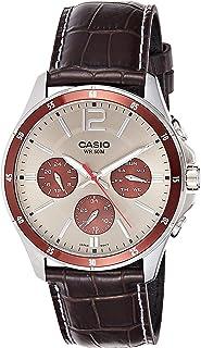ساعة يد كاجوال جلد انالوج بعقارب للرجال من كاسيو MTP-1374L-7A1VDF – بني داكن