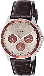Casio Watch For Men Silver Dial Leather Band - MTP-1374L-7A1