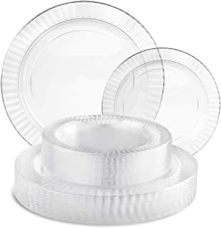Perfect Settings 50 Piece (25 Sets) Premium Clear Plastic Plates (25 x 10 Inch Dinner / 25 x 7 Inch Salad) Heavy Duty Eleg...