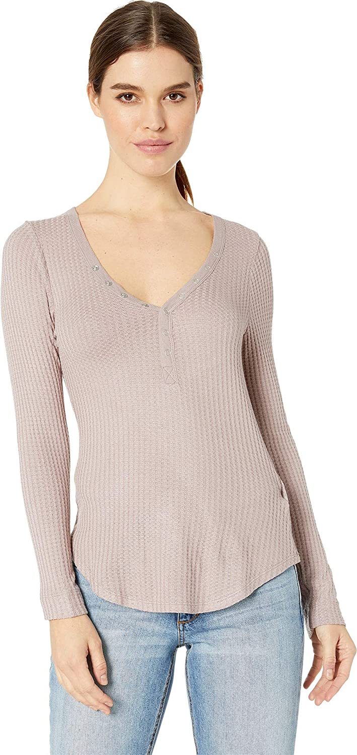 Chaser Womens Thermal Snap Front Shirttail Henley