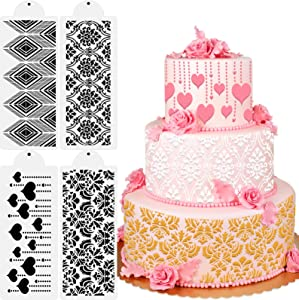 Konsait 4pack Cake Decorating Stencil Templates, Reusable Birthday Cake Cookies Buttercream Baking Painting Mold Tools, Flower Heart Hollow Lace Decor for Birthday Wedding Party Favor Supplies