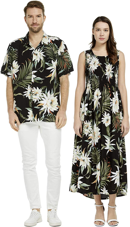 Couple Matching Hawaiian Luau Aloha Shirt Maxi Tank Dress in Pink Hibiscus Vine