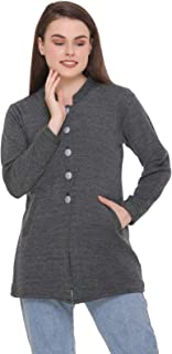 eWools Women Ladies Girls Round Neck Self Design Woolen Sweater Winter Wear Cardigan Coat with Pockets