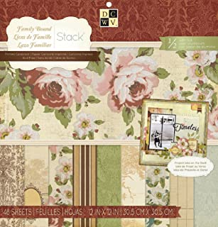 DCWV Family Bound Stack Printed Cardstock 48 Scrapbooking sheets