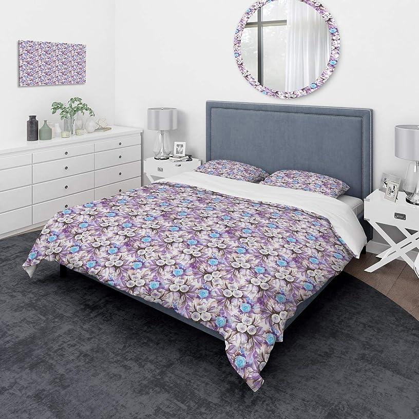 ラッシュペルメルじゃないDesignart カスケードブーケ ロイヤルブルー パープル&ホワイト 花 - 伝統的な掛け布団カバーツイン寝具セット 枕カバー1枚 パープル