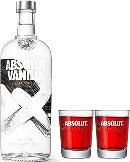 Absolut Vodka Vanilia Set mit 2 Shotgläsern, Wodka mit Vanillearoma, Schnaps, Spirituose, Alkohol, Flasche, 40 %, 1 L