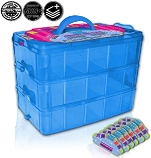 Black & White Label Company Holds 600 - Tiny Box Shopkins Storage Case Organizer Container - Stackable Collectors Carrying Tote - Compatible W/ Mini Colleggtibles Tsum Tsum LOL Hot Wheels (Blue)