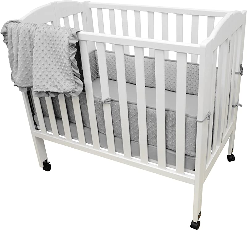 American Baby Company Heavenly Soft Minky Dot Chenille Portable Mini Crib Bedding Set Gray 3 Piece For Boys And Girls