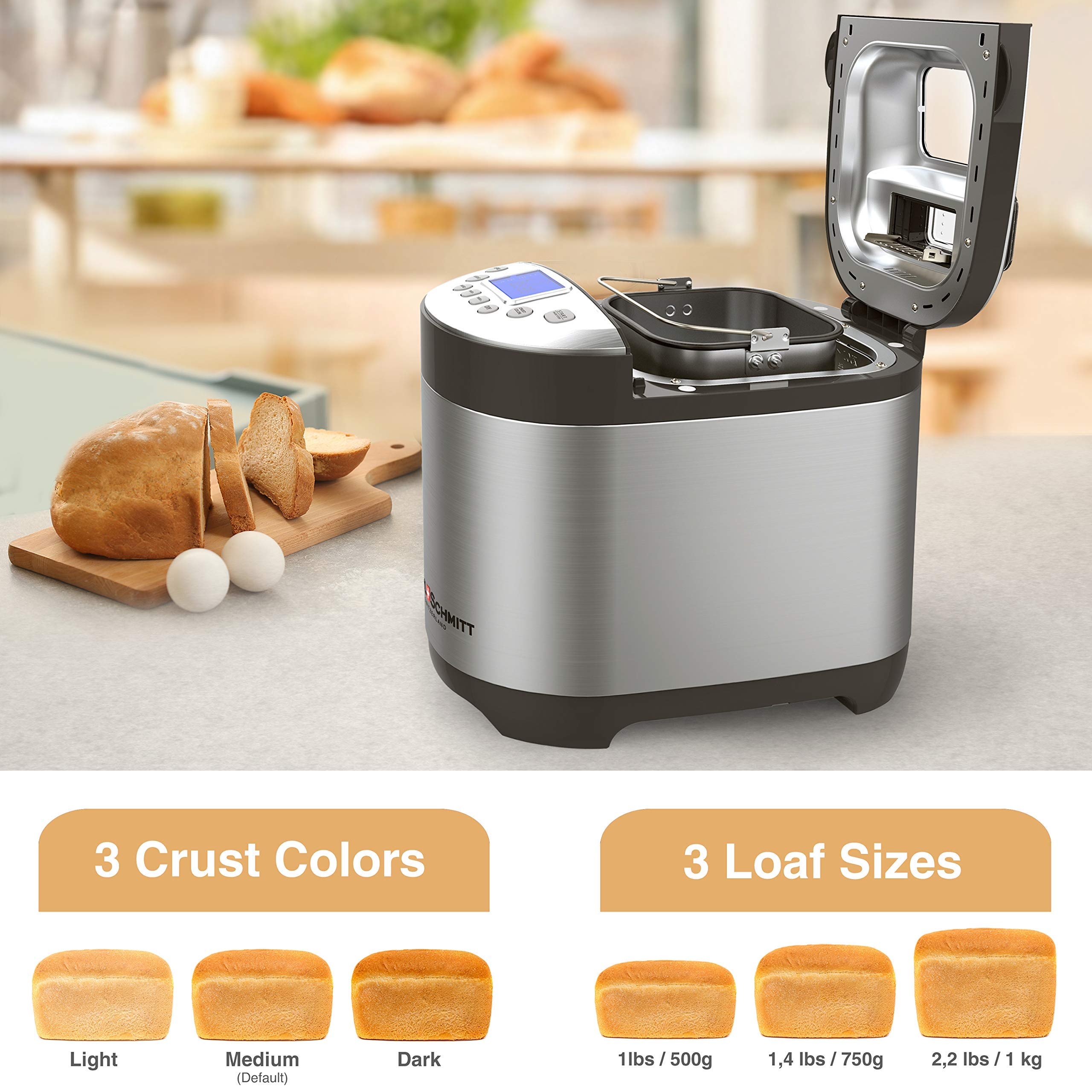 17-In-1 Stainless Steel Automatic Bread Maker Machine 2 LB 14 Settings Keep Warm