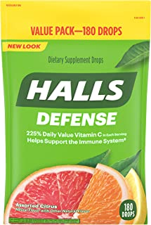 Halls Defense Citrus Vitamin C Drops - 180 Drops 180 Count (Pack of 1)