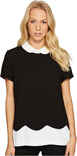 CeCe - Color Block Scallop Edge Collared Blouse