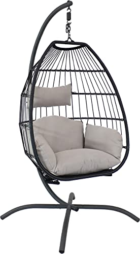 high quality Sunnydaze outlet sale Oliver Black Resin Wicker Hanging Egg Chair Swing with Gray Cushions and Steel sale Stand Set - Outdoor Boho Single Lounge Seat for Yard or Patio - Collapsible Nylon Rope Back Design outlet sale
