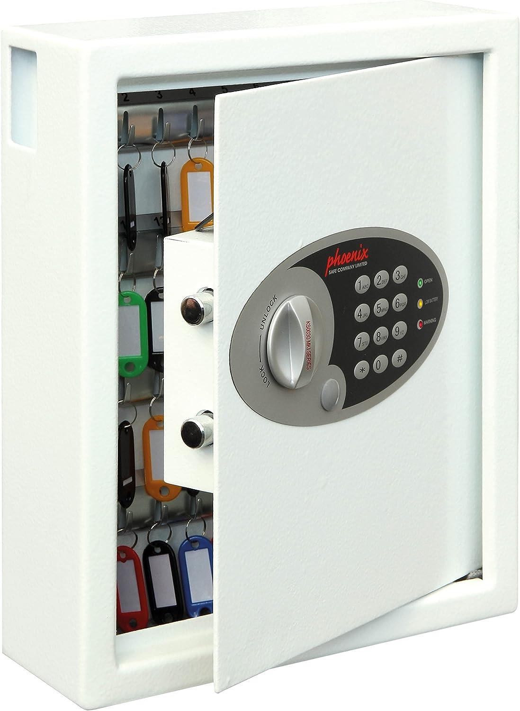 Phoenix Cygnus KS0032E Schlüsseltresor Schlüsselkasten Tresor für 48 Schlüssel inkl. Schlüsselanhnger, Weiss  HxBxT  36 x 30 x 10 cm 7,5 kg
