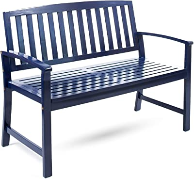 Christopher Knight Home Loja Outdoor Acacia Wood Bench, Pu Navy Blue