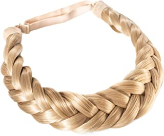 Madison Braids Women's Two Strand Headband Hair Braid Thick Natural looking Extension - Halo - Sunset Blonde