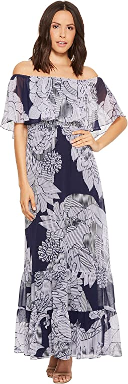 Donna Morgan Printed Off the Shoulder Maxi Dress