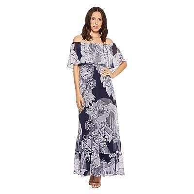 Donna Morgan Printed Off the Shoulder Maxi Dress (Navy/Lilac Multi) Women