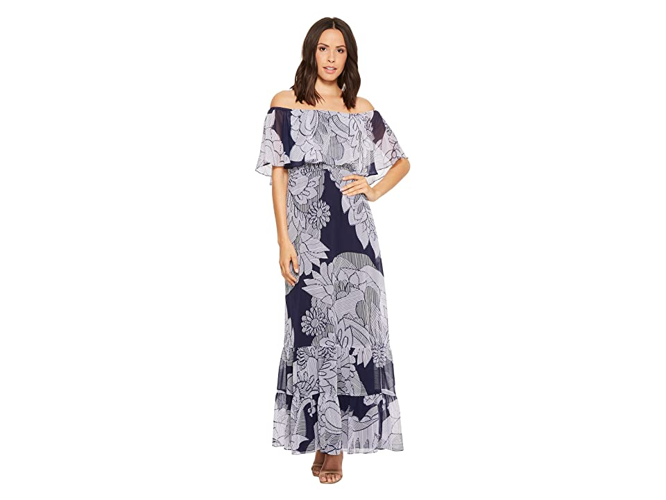 Donna Morgan Printed Off the Shoulder Maxi Dress (Navy/Lilac Multi) Women