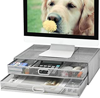 Monitor Stand Riser with Drawer - Metal Mesh Desk Organizer with Dual Pull Out Storage Drawer,Office Supply for Computer, ...