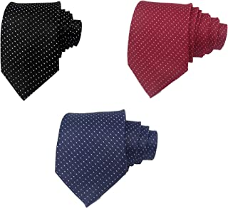 Luxeis Men Premium Neck Tie Combo (Black, Maroon, Navy Blue; Free Size) (Pack of 3)