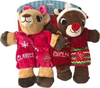 Dan Dee Holiday Pet Toys Dog Rudolph and Clarice Squeakers Fun Large Toy 2 Pc