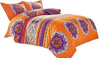 Wake In Cloud - Bohemian Duvet Cover Set, Orange Boho Chic Mandala Medallion Printed Soft Microfiber Bedding, with Zipper Closure (3pcs, Queen Size)