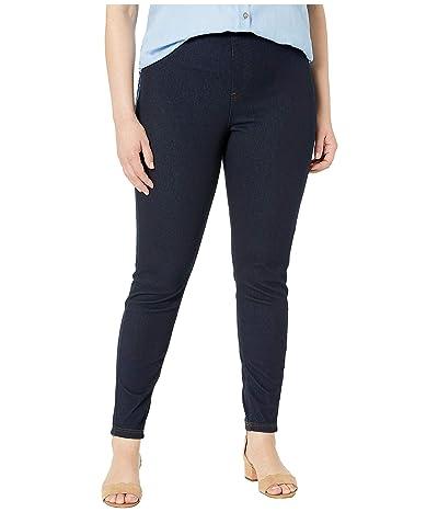 HUE Plus Size Curvy Fit Jean Leggings (Midnight Rinse) Women