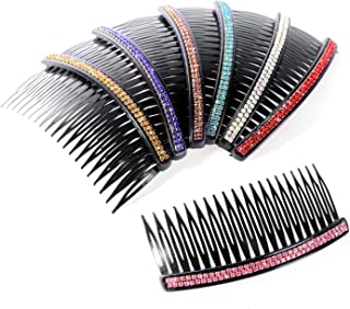 6Pcs 20 Teeth Plastic Assorted Colors Rhinestone Comb Clip Bridal Hair Combs Accessory for Girls Women(Random Color)