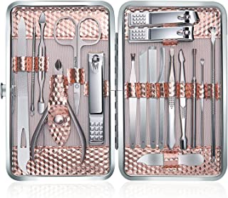 Profesional Cortaúñas Acero Inoxidable Grooming Kit - Set de 18 Piezas para Manicura y Pedicura Limpiador Cutícula con Bonita Caja (Oro rosa)