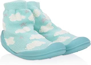 Nuby Snekz Comfortable Rubber Sole Sock Shoes for First Steps- Aqua Clouds/Medium 14-22 Months