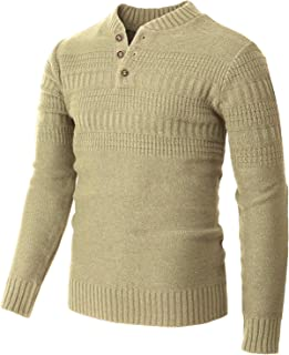 H2H Mens Casual Henley Pullover Sweaters Knitted Long Sleeve