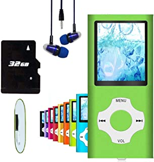 MP3 Player / MP4 Player, Hotechs MP3 Music Player with 32GB Memory SD Card Slim Classic Digital LCD 1.82'' Screen Mini USB...